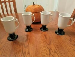Vintage Hall Irish coffee mugs pedestal white black base set 4 #1272 USA