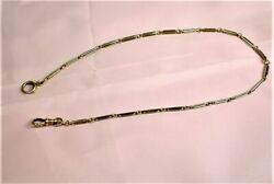 """Vintage 14k Yellow Gold 14 Gr., 15"""" Long Pocket Watch Double Link Fob Chain"""