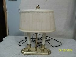 Vintage Pot Metal Brass Table Lamp Cloth Shade