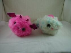 Pomsies Talking Light Up Wrist Plush Pink Dragon White And Blue Cat 2 Pieces