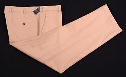 Nwt Brooks Brothers Khaki Brown Linen Cotton Flat Front Chinos Pants 40 X 30 New