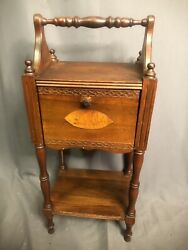 Antique Cigar Art Deco Era Solid Wood Chairside Smoke Stand Tobacco End Table