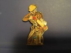 Vtg Marx Tin Lithograph Toy - Machine Gun Unit Private 250 - Soldiers Of Fortune