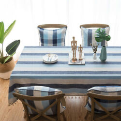 New Stripe Tablecloth Rectangular Placemat Heat Resistant Waterproof Table Cloth