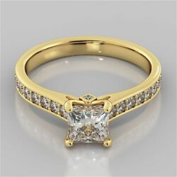 Pave 1.30 Tcw Princess Round Cut Diamonds Engagement Ring In 585 Solid 14k Gold