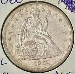 1860-o, U.s. Silver Seated Liberty Half Dollar- See Other Rare Coins And Jewelry