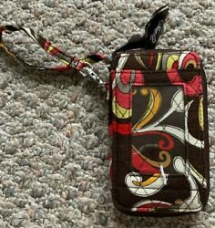 VERA BRADLEY RETIRED ALL IN ONE PUCCINI BROWN PINK RED FLORAL WRISTLET ID WALLET $9.99