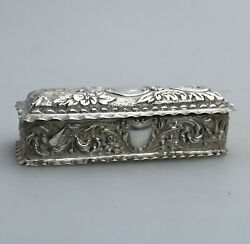 A Pretty Solid Silver Embossed Box With Birds Flora Scrolls Etc... Birm C.1898