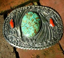 Huge Silver 8 Turquoise Native American Belt Buckle Signed Museum Quality