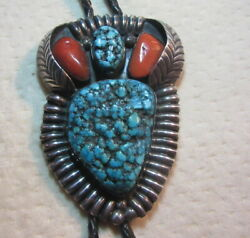 Large Native American Silver Turquoise Bolo Necklace Jerrry Roan Signed