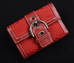 Coach Red CC Signature Leather Trifold Coin Pouch Buckle Soho Hobo Wallet $37.05