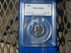 1962 Jefferson Nickel Pcgs Ms-65 Business Strike   Free Shipping In The Us
