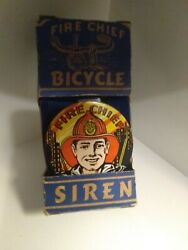 Vintage Tin Toy Litho Fire Chief Bicycle Siren Bike Horn Ranger Steel Works Usa