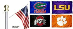 College Sports Flag 3x5 W/ 6 Foot Aluminum Spinning No Tangle Pole And Wall Mount