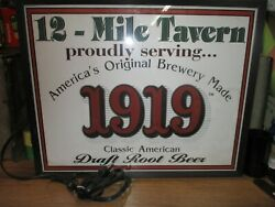 Lighted 1991 Classic American Root Beer Sign 12 Mile Tavern Swan Ville Minnesota