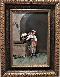 Antique Large - Pietra Dura Panel Of Lady By Water Well. Florence