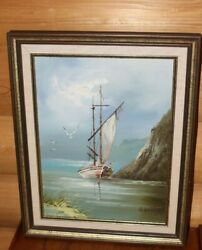 Oil Painting Signed H. Gailey On Canvas In Frame Seascape Boats