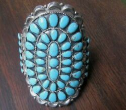Native American Silver Turquoise Cluster Bracelet Signed