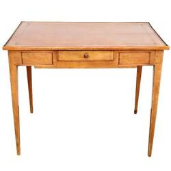 Antique French Directoire Pale Walnut And Leather Side Table C. 1800