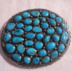 Large Silver Turquoise Native American Belt Buckle Signed Museum Quality