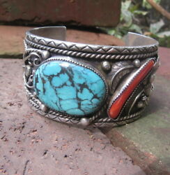 Large Native American Silver Turquoise Coral Bracelet Signed