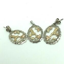 Landstromand039s Tri-color Gold And Silver Hummingbird Pendant And Earrings Set Blk Hills