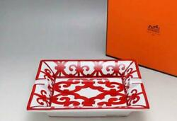 Hermes Ashtray Gadarkivir Red Rectan Tray Porcelain Interior Plate With Box New