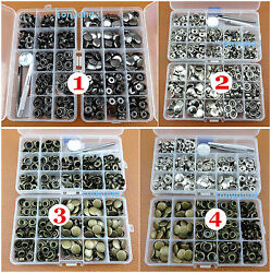 7kind 200sets Poppers Snap Fasteners Press Studs Button Leather Craft Tool + Box