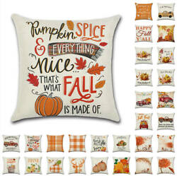 US Fall Thanksgiving Harvest Pumpkin Rustic Cushion Cover Pillow Case Home Decor