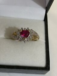 Vintage 9ct Solid Gold Diamonds And Sapphire Ring