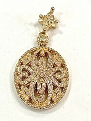 Solid 14k Yellow Gold Diamond Filigree Pendant, See Other Jewelry And Coins