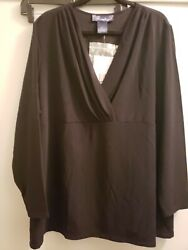 Susan Graver Style Women's Top Plus Size 3X Solid black Long Sleeve Tunic NEW $17.99