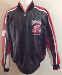 Rare Detroit Red Wings 2002 Stanley Cup G-iii/carl Banks Leather Jacket Size L