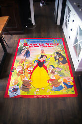 Snow White Walt Disney 4x6 Ft French Grande Movie Poster Rerelease 1970 Used
