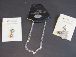 New Macy's Sterling Silver 7 Charm Bracelet With Baseball And Sea Shell Charms.
