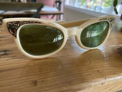 Cat Eye Sunglasses Vintage 50s 60s Rockabilly Cool Ray Polaroid 171 Pearl $40.00