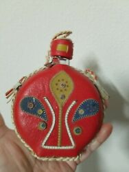 Vintage Folk Art Leather Covered Grappa Bottle Decanter Canteen Flask