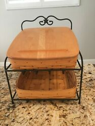 Longaberger 1999 Metal Wrought Iron 2 Tier Paper Tray Stand With 2 Baskets