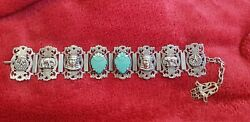 Collectible 1920s Egyptian Revival Filigree Scarab And Hamsa Charm Bracelet Boxed