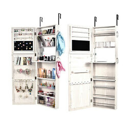Over the Door Wall Mount Mirrored Jewelry Armoire Cabinet Storage Organizer NEW