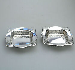 An Unusual Pair Antique Solid Silver Pierced Square Bonbon Dishes Chester C.1927