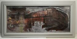 Virginia Banks Seattle Artist Partly Cloudy 20x47 Abstract Painting Unsigned Vtg
