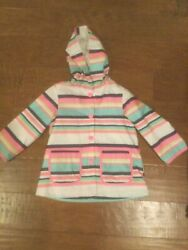Carter#x27;s toddler girls striped rain jacket 3T EUC