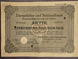 Extremely Rare Stock Bond Darmstadt And National Bank Kgaa 100 Rm Berlin