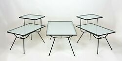 Set Of Mid-century Modern Nelson Style Iron And Glass Tables By Frank And Son