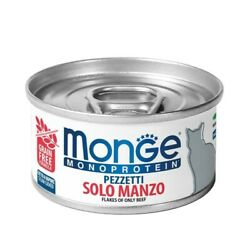 Monge Flakes Only Beef - Moist Cat Food 24 Cans Of 80 G