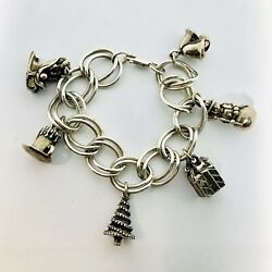Vintage Reed And Barton Christmas Sterling Silver Six Charm Bracelet 114 Grams