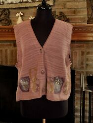 1996 Blue Fish Hand Painted Basket Button Front Sweater Vest Osfm