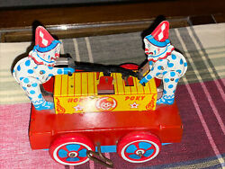 Antique Hoky Poky Tin Wind Up Toy Hand-car Clowns Excellent-works M-654 5028