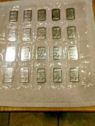 20 1 Oz. Johnson Matthey Silver Bars With Mirror Like Finish Andnbsp Series A440000